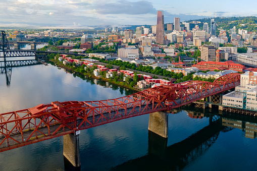 an aerial photography of downtown portland as seen from above the broadway bridge