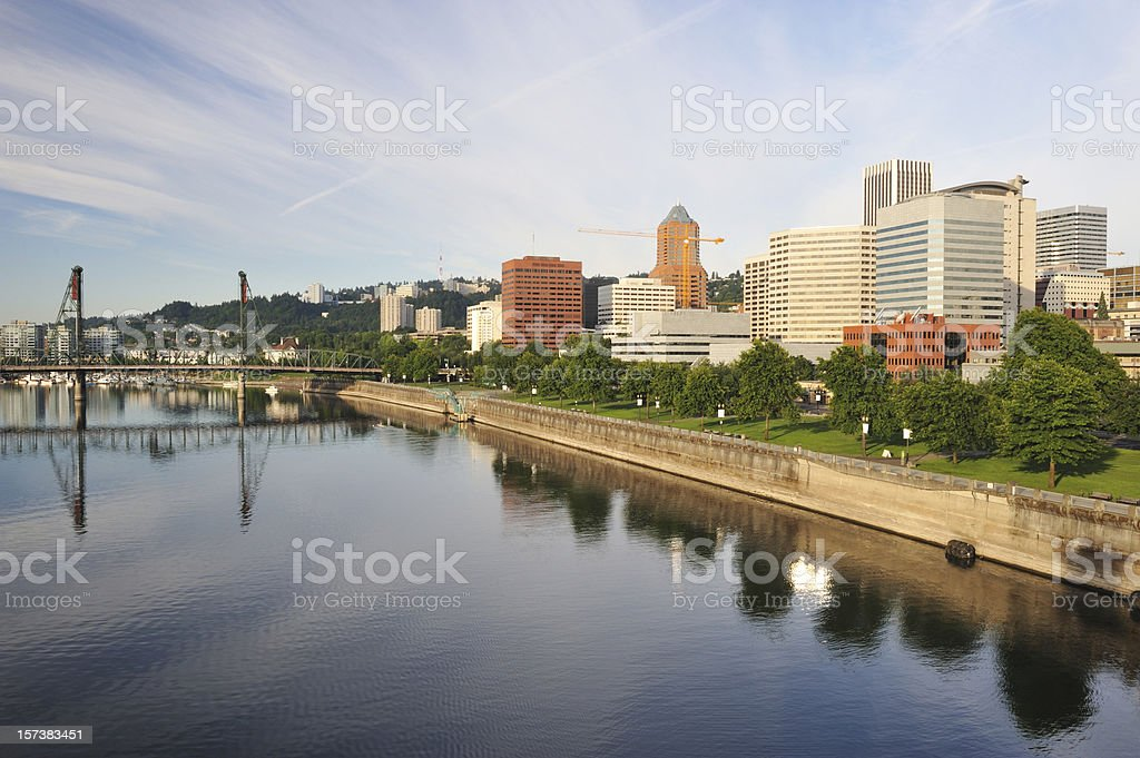 Downtown Portland and Willamette River royalty-free stock photo