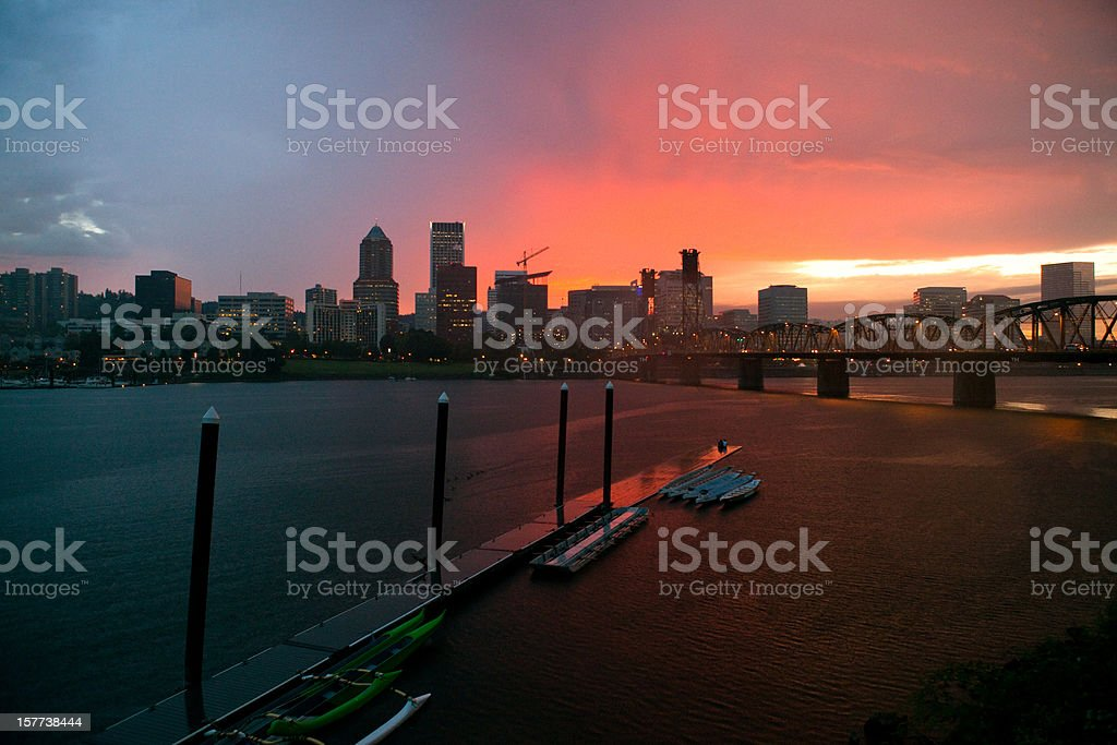 Downtown Portland Oregon Dramatic Sky Sunset Beautiful Colors royalty-free stock photo