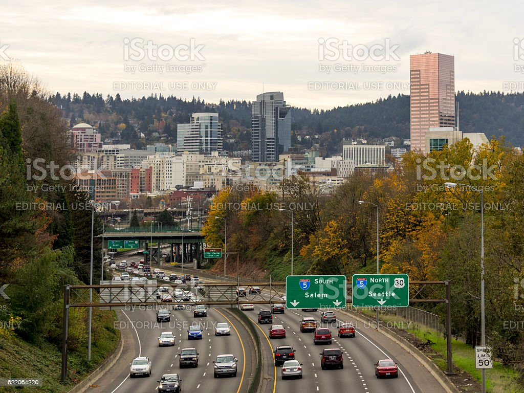 Downtown Portland Oregon Road Signs Traffic Interstate84 Stock Photo