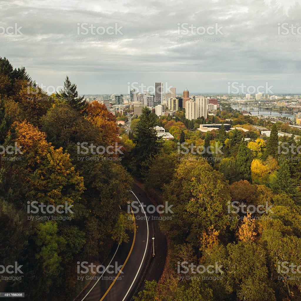 Downtown Portland Oregon Skyline Fall October Scene stock photo