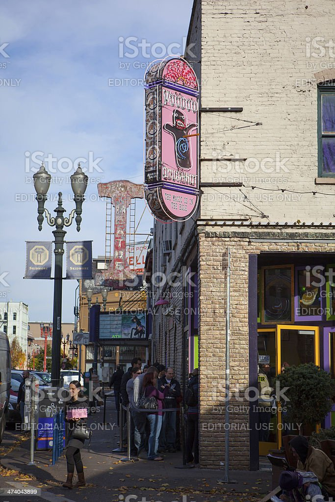 Downtown Portland staple VooDoo Donuts. stock photo