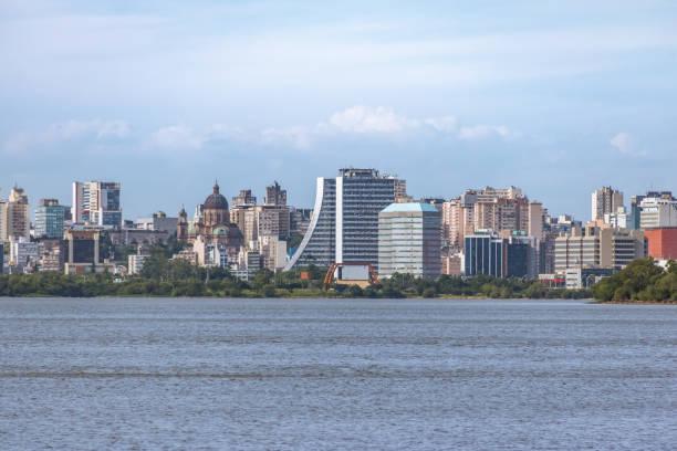 Downtown Porto Alegre Skyline with Rio Grande do Sul Adminitrative Building  and Metropolitan Cathedral at Guaiba River - Porto Alegre, Rio Grande do Sul, Brazil stock photo