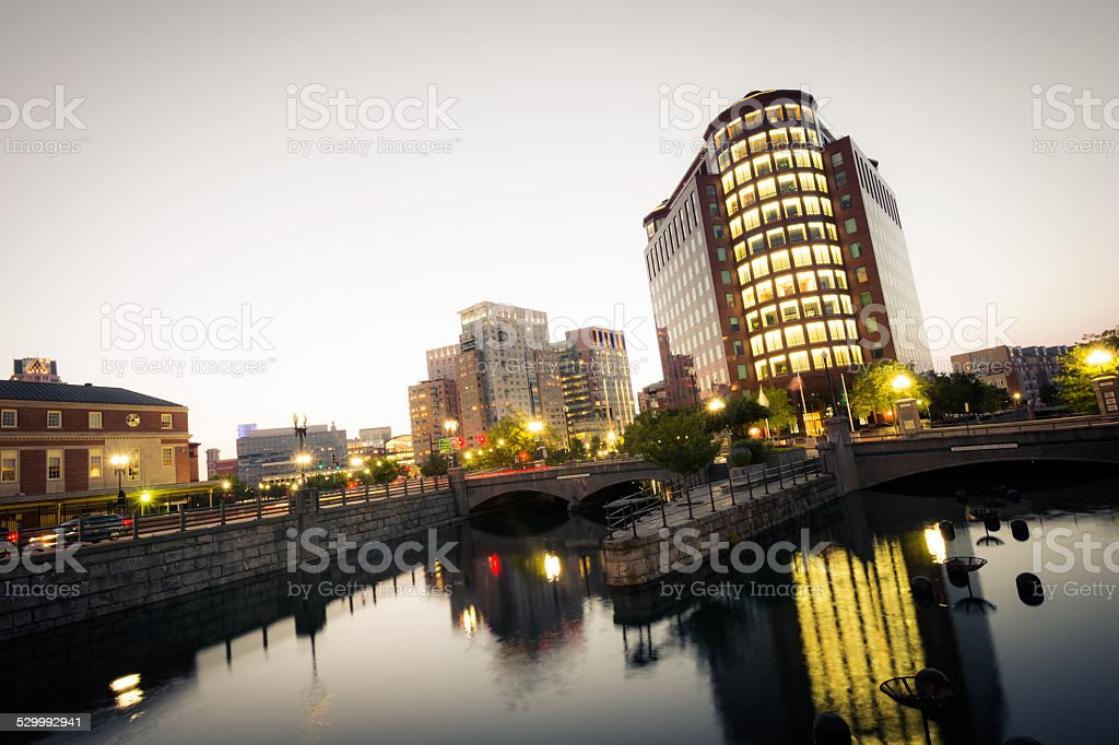 Downtown Providence, Rhode Island with office building at night stock photo