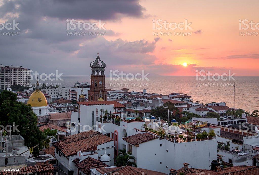 Downtown Puerto Vallarta at sunset - Puerto Vallarta, Jalisco, Mexico stock photo