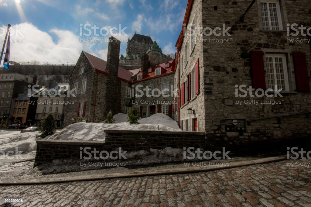 Downtown Quebec city with a view of the Frontenac Castle stock photo
