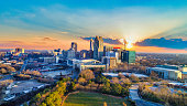 Downtown Raleigh, North Carolina, USA Drone Skyline Aerial.