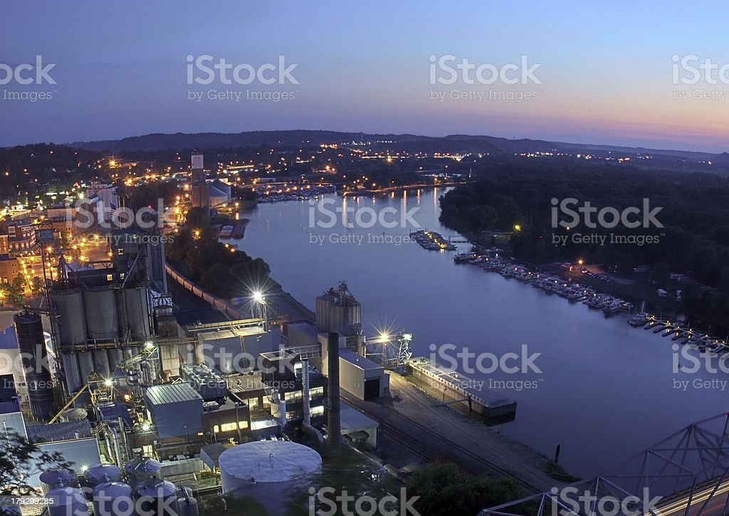 Downtown Red Wing Minnesota with Sunset stock photo