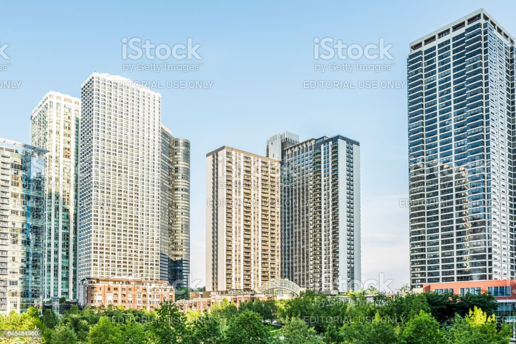 Downtown residential skyscrapers in Lake Shore East Park stock photo