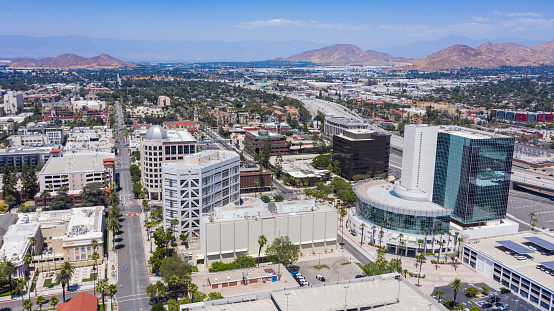 Aerial day time view of downtown Riverside, California.