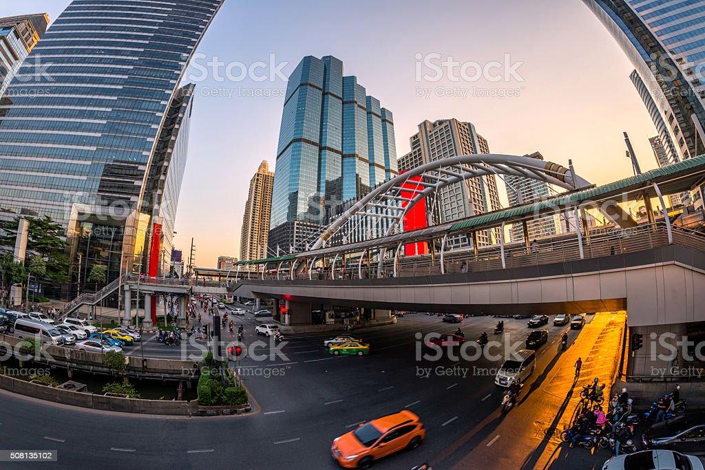 downtown road bangkok stock photo