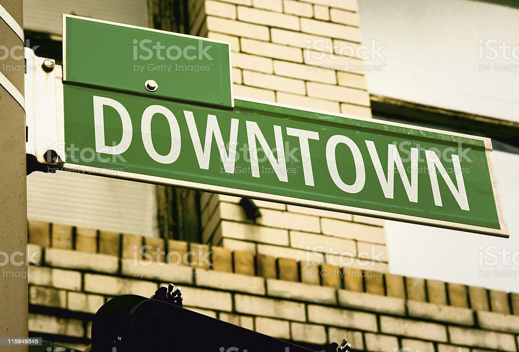 Downtown Road Sign royalty-free stock photo
