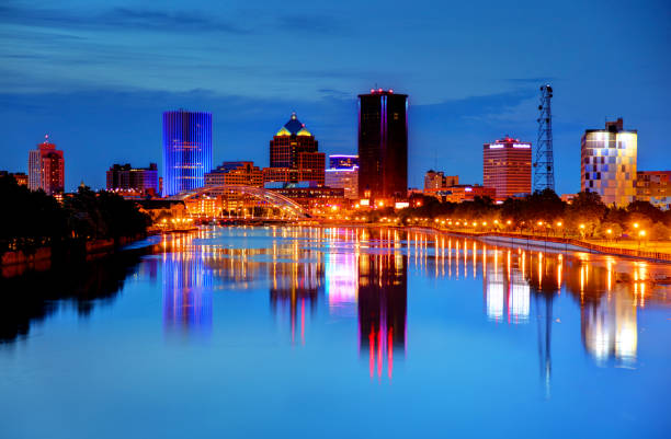 downtown rochester, new york skyline - rochester ny skyline stock photos and pictures