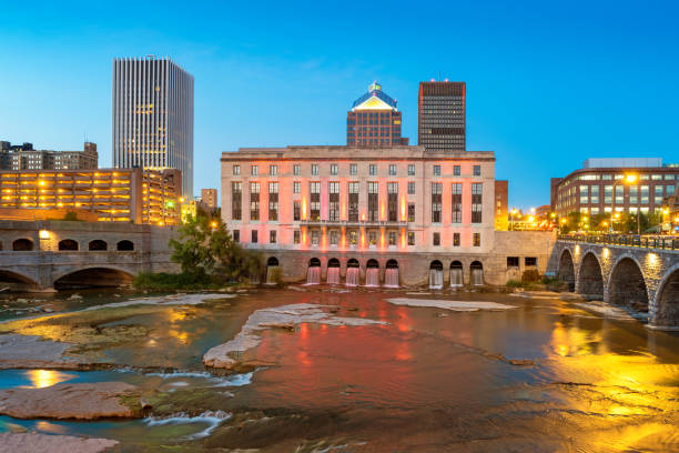 downtown rochester new york state usa - rochester ny skyline stock photos and pictures