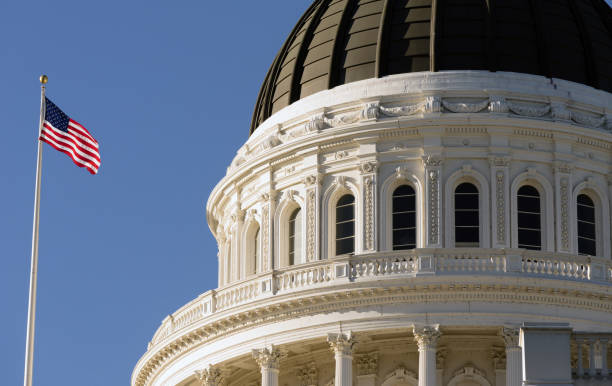 Downtown Sacramento California Capital Dome Building stock photo