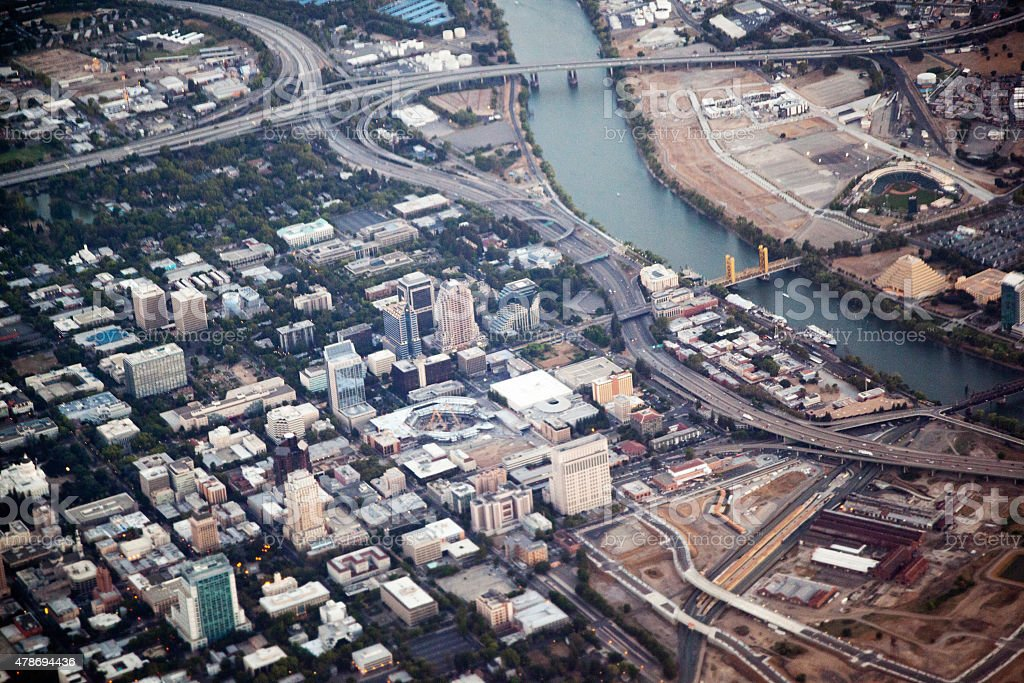 Downtown Sacramento  from the Air stock photo