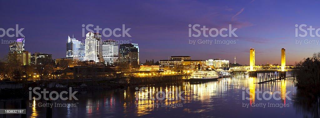 Downtown Sacramento skyline at late dusk stock photo