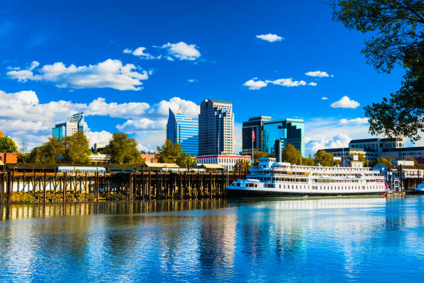 Downtown Sacramento Skyline with Historic Riverboat stock photo