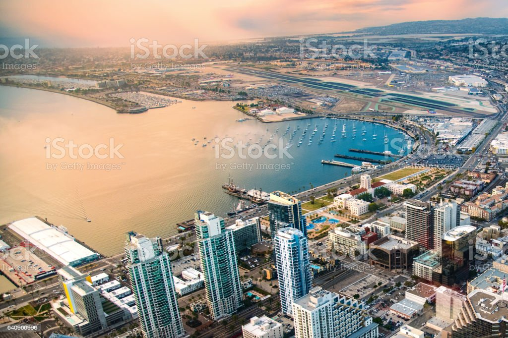 Downtown San Diego and Airport Aerial stock photo