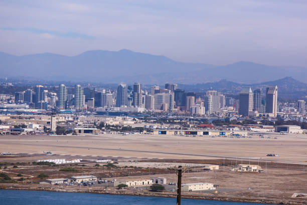 Downtown San Diego and NAS North Island Terminal View From Point Loma and the Naval Air Station North Island naval base stock pictures, royalty-free photos & images