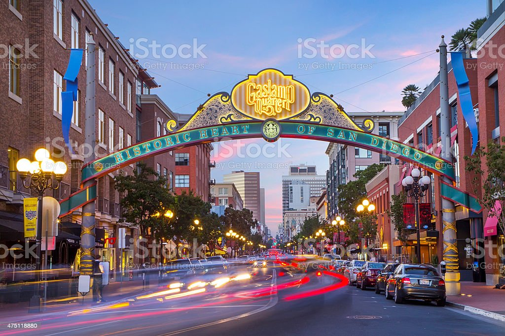 Downtown San Diego Gaslamp sign over moving traffic stock photo