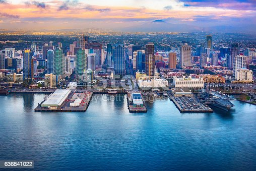 Downtown San Diego, California, shot during a helicopter photo flight as a winter storm cleared.