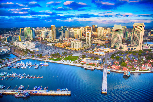 The downtown district of San Diego, California shot after a storm at sunset from an altitude of approximately 300 feet during a helicopter photo flight.