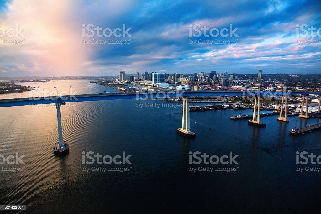 Downtown San Diego Skyline Beyond the Coronado Bridge stock photo