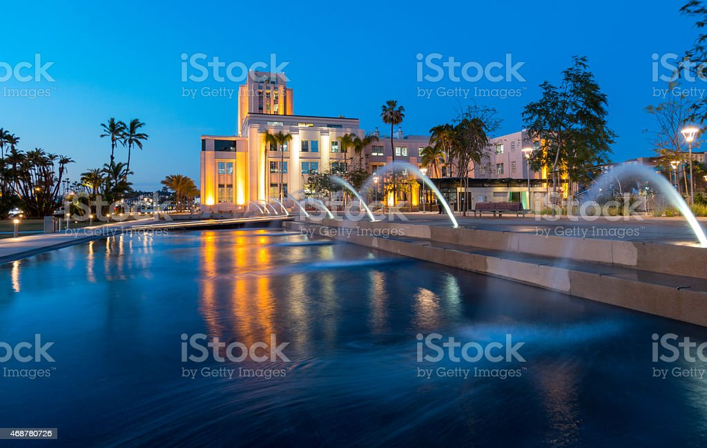 Downtown San Diego Waterfront Park Fountains stock photo
