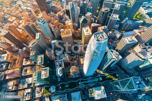 Downtown San Francisco aerial view of skyscrapers
