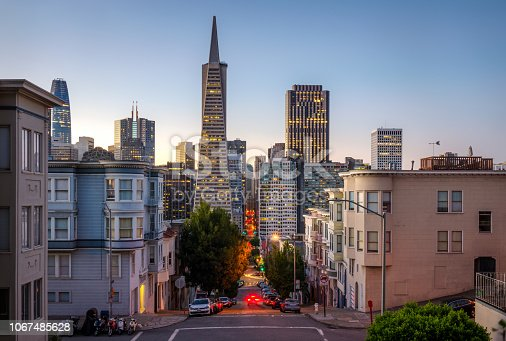 Financial district of San Francisco at sunrise. California. USA