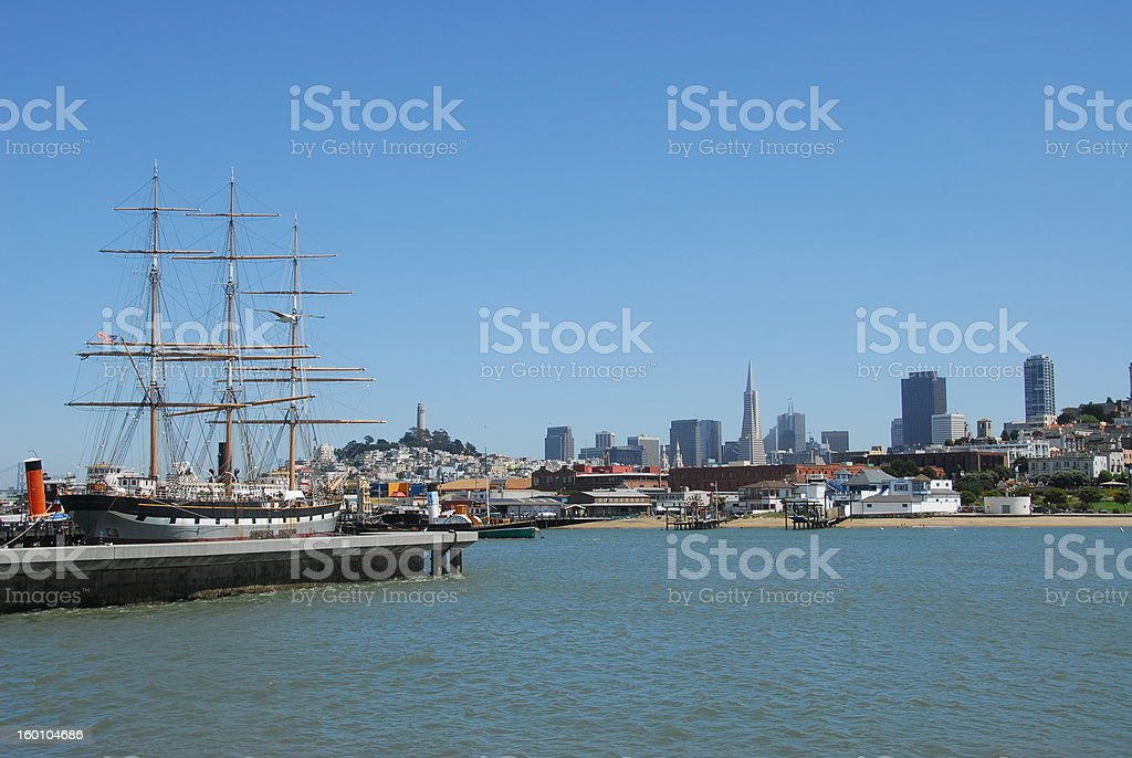 Downtown San Francisco from wharf stock photo