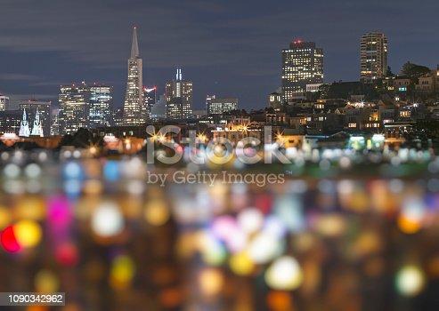 downtown San Francisco night view,CA,USA.