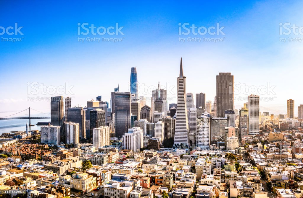 Downtown San Francisco A high angle view of San Francisco's business district on a sunny day. Aerial View Stock Photo