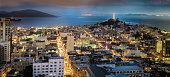 Panorama of San Francisco, CA, USA at dusk
