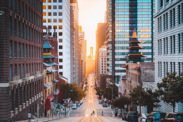 Downtown San Francisco with California Street at sunrise, San Francisco, California, USA stock photo