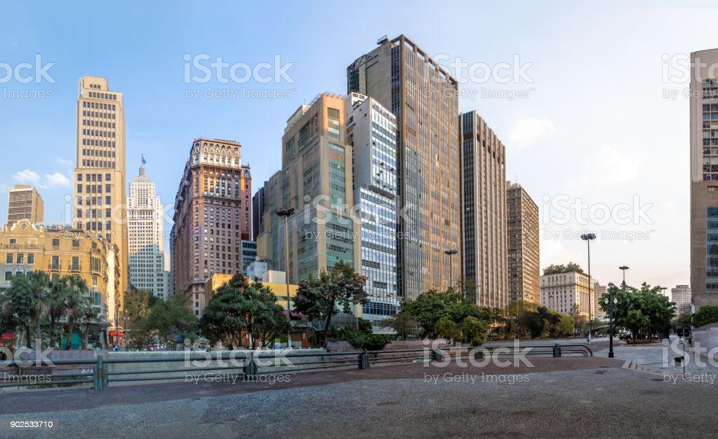 Downtown Sao Paulo skyline with old Banespa (Altino Arantes) and Martinelli Buildings - Sao Paulo, Brazil stock photo
