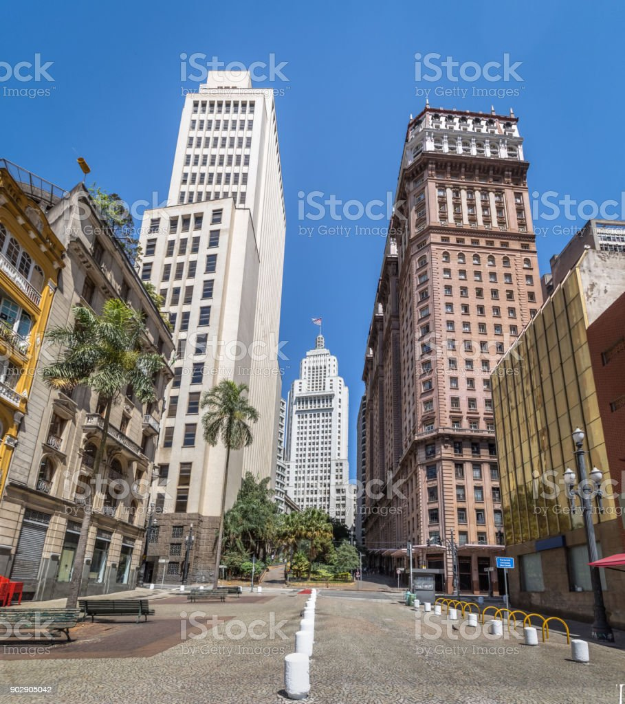 Downtown Sao Paulo with old Altino Arantes and Martinelli Buildings - Sao Paulo, Brazil stock photo