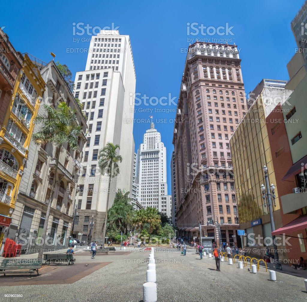 Downtown Sao Paulo with old Banespa (Altino Arantes) and Martinelli Buildings - Sao Paulo, Brazil stock photo