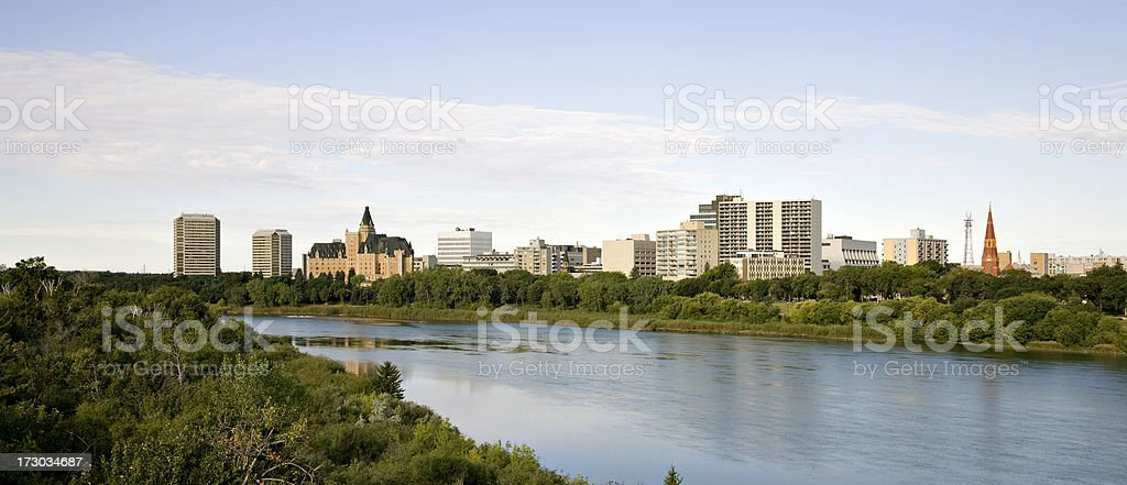 Downtown Saskatoon  Panorama With Hotels and Condominiums royalty-free stock photo