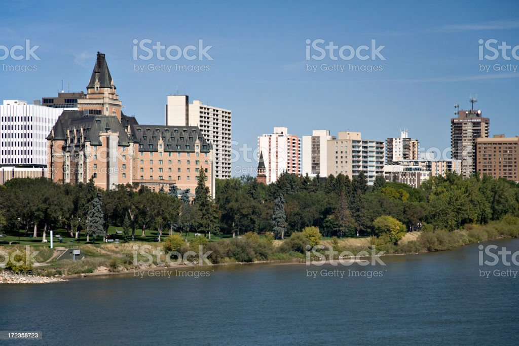 Downtown Saskatoon with Bessborough Hotel royalty-free stock photo