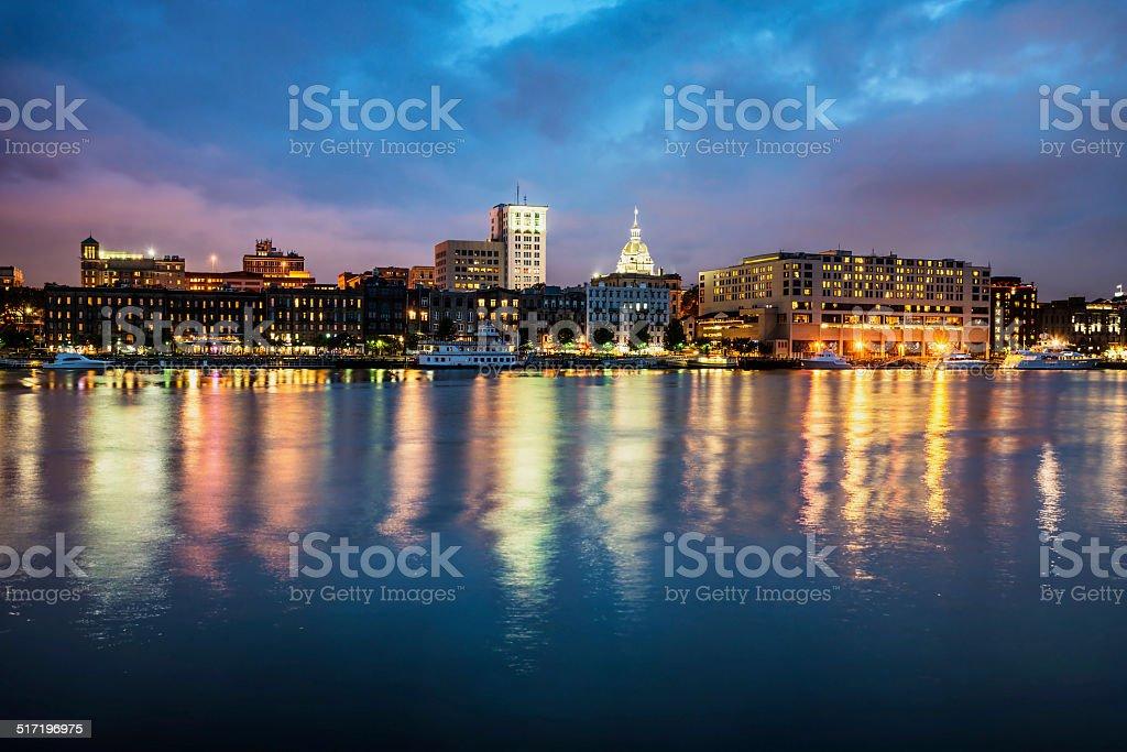Downtown Savannah , Georgia, along riverfront Downtown Savannah , Georgia, along riverfront at night Architecture Stock Photo