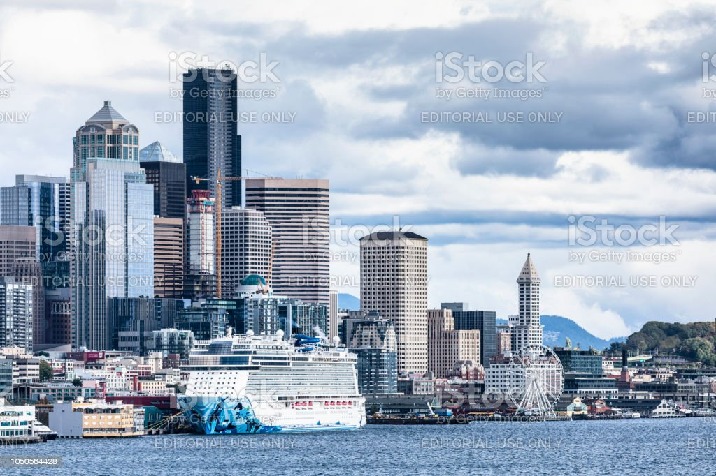 Downtown Seattle and Elliott Bay stock photo