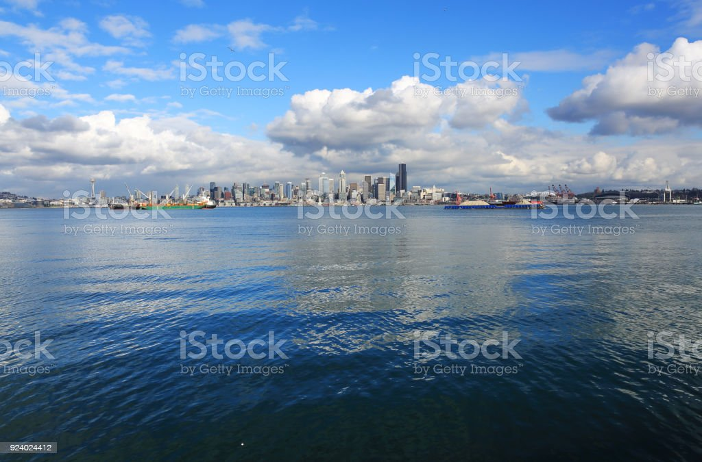 Downtown Seattle as Seen from a Distance stock photo