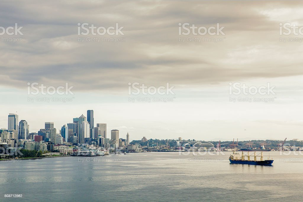 Downtown Seattle from the water royalty-free stock photo