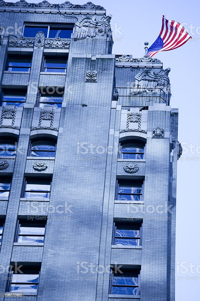Downtown Seattle Office Building Exterior, Tungsten Blue Light Effect royalty-free stock photo