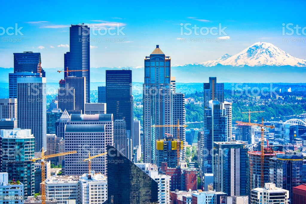 Downtown Seattle Skyline Aerial stock photo