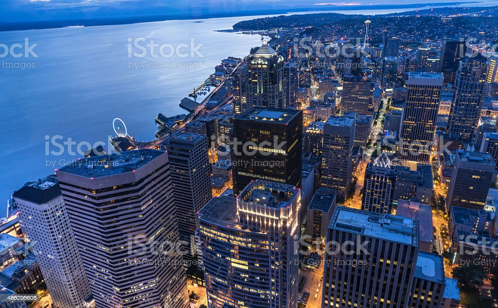 Downtown Seattle Skyline at Night stock photo