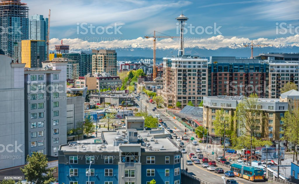 Downtown Seattle Streets from Above stock photo