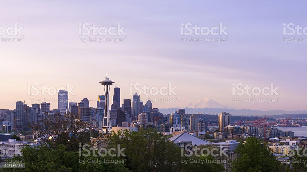 Downtown Seattle Sunrise Cityscape stock photo